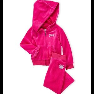 JUICY COUTURE Two-Piece Velour Hoodie & Pants Set